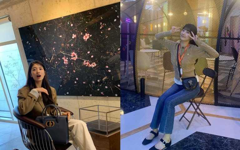 (左)Dior St Honoré丹寧藍粒紋小牛皮手提包/150,000元;(右)Dior Bobby 黑色光滑小牛皮小型肩背包/99,000元 (圖/秀智 IG)