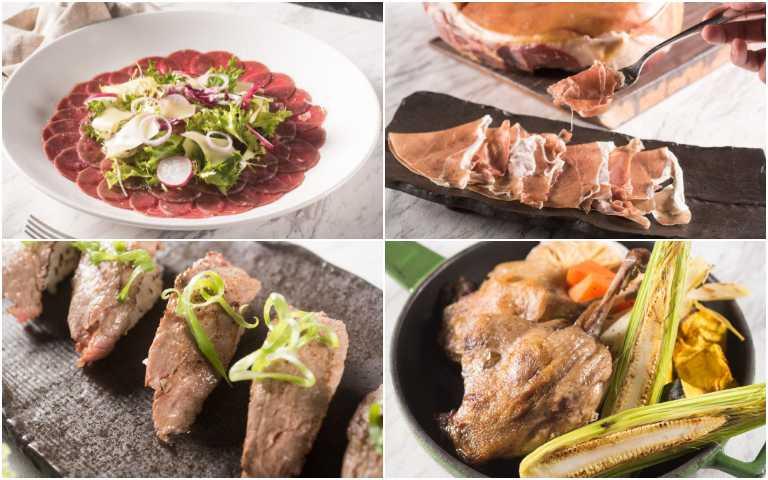 義式生牛肉(左上起順時針)、義大利帕瑪火腿、經典油封功夫鴨腿、和牛握壽司。 (圖/六福旅遊集團提供)