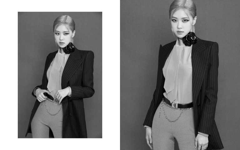 BLACKPINK成員朴彩英 ROSE穿上SAINT LAURENT 2021春夏的單車五分褲(圖/品牌提供)