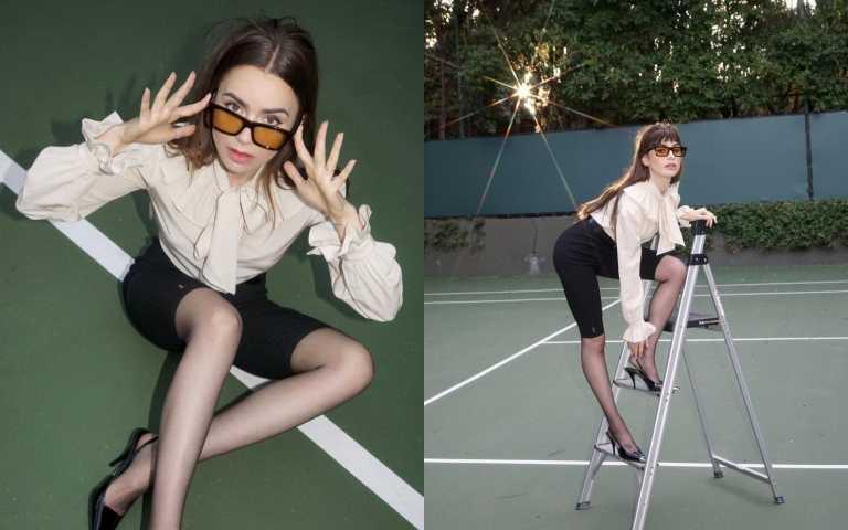 《艾蜜莉在巴黎》的女主角莉莉柯林斯 LILY COLLINS穿上單車五分褲演繹大片(圖/品牌提供)