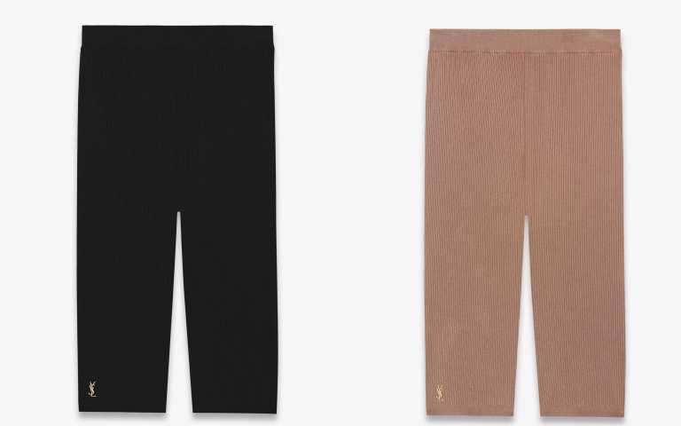 SAINT LAURENT黑色、裸膚色羅紋緊身單車褲/19,400元(圖/品牌提供)