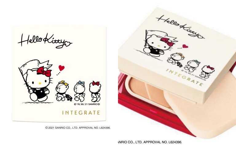 日本開架粉底銷售NO.1的 INTEGRATE櫻特芮「柔焦輕透美肌粉餅n」,有專櫃級細緻質地,薄透服貼還能自然遮瑕,隱形毛孔,快速完妝。INTEGRATE櫻特芮 柔焦輕透美肌粉餅n X Hello Kitty 聯名限定組10g / 410元(全2色)(圖/品牌提供)
