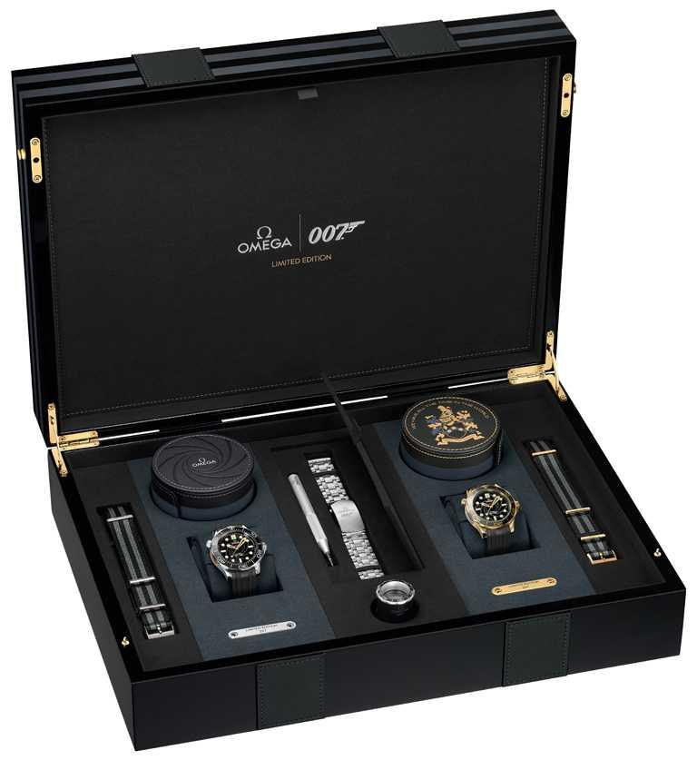 OMEGA「Seamaster海馬」系列潛水300米,詹姆士龐德限量版腕錶組,限量257組╱1,377,900元。(圖╱OMEGA提供)