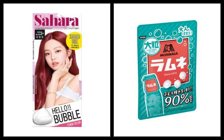 左:HELLO BUBBLE泡沫染髮劑7P乾燥玫瑰,即日起特價NT379元;右:森永彈珠汽水風味糖,即日起售價NT49元(圖╱品牌提供)