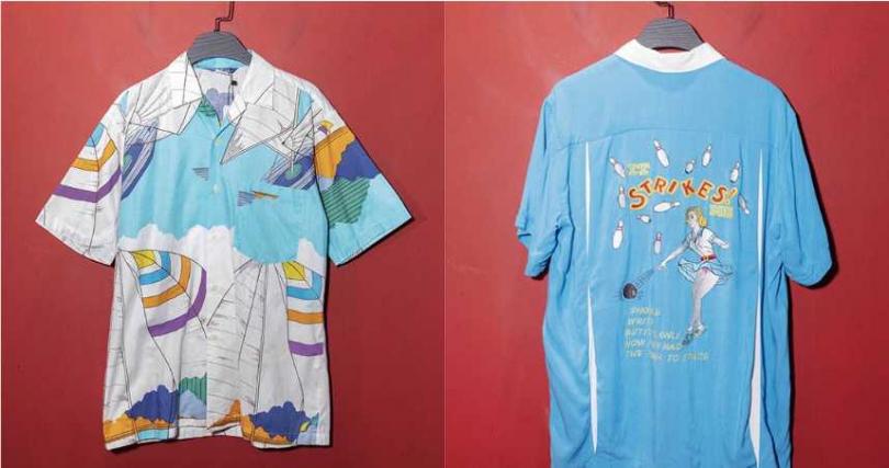 彩色襯衫/1,280元(左)。藍色保齡球上衣/3,680元。(在A.PRANK:DOLLY購得)(圖/林勝發攝)
