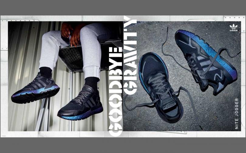 藍紫漸層的虹光中底搭配鞋身三條線反光細節,散發宇宙行星般的耀眼光澤。(圖/adidas Originals)