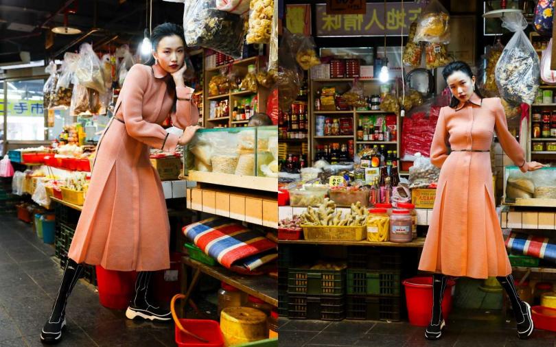 FENDI Dress 連衣裙/價格未定;Longchamp Sneakers Patch 高筒運動鞋/價格未定;Bottega Veneta Earrings 耳環/約30,510元(攝影/戴世平)