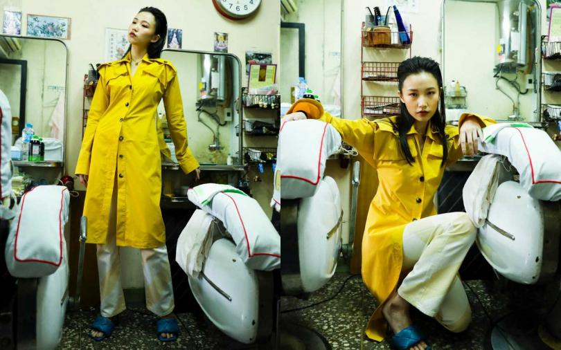 BOTTEGA VENETA Dress 洋裝/53,900元、BV LIDO Sandals 涼鞋/約40,130元;H&M Studio 直筒中腰牛仔褲/價格未定(攝影/戴世平)
