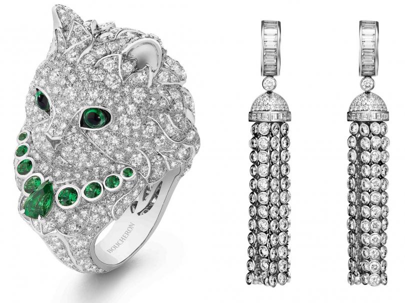 (左)BOUCHERON「頂級珠寶系列」WLADIMIR 1ER貓形指環;(右)BOUCHERON「Pompon系列」流蘇耳環╱2,810,000元(圖╱BOUCHERON提供)