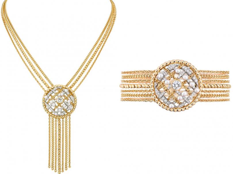 (左)CHANEL「Tweed Cordage系列」黃金、鉑金鑲嵌養珠及鑽石項鍊;(右)CHANEL「Tweed Cordage系列」黃金、鉑金鑲嵌養珠及鑽石手鍊(圖╱CHANEL提供)