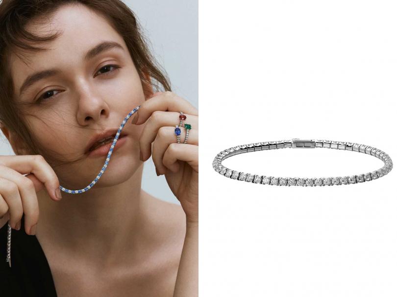 (左)Cartier「Solitaire 1895系列」藍、紅、綠寶石戒指、鑽石手鍊;(右)Cartier「Tennis系列」單排鑽石手鍊╱387,000元(圖╱Cartier提供)