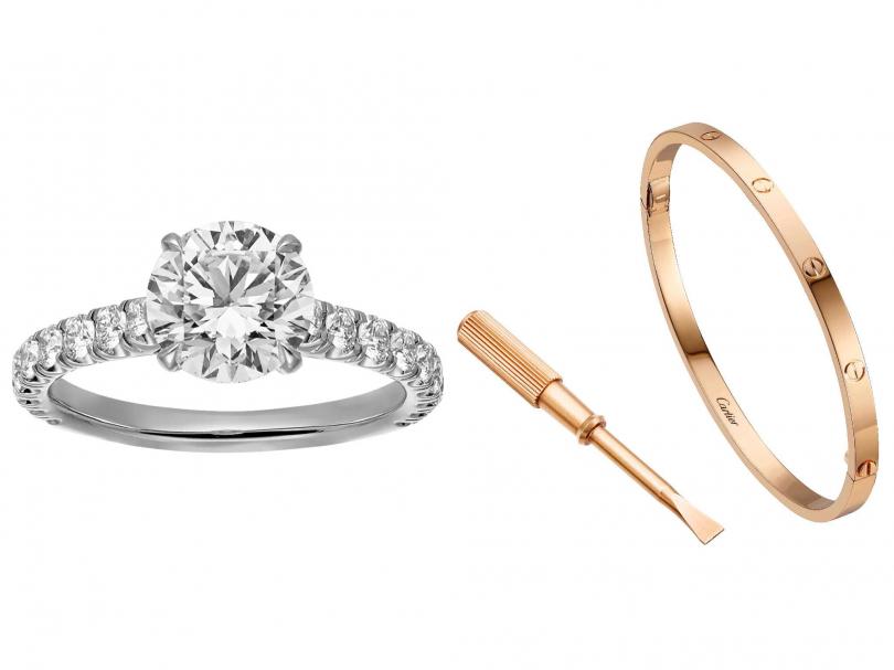 (左)Cartier「Solitaire 1895系列」單鑽戒指╱267,000元;(右)Cartier「LOVE系列」玫瑰金手環╱125,000元(圖╱Cartier提供)