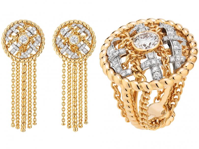 (左)CHANEL「Tweed Cordage系列」黃金、鉑金鑲嵌養珠及鑽石耳環;(右)CHANEL「Tweed Cordage系列」黃金、鉑金鑲嵌鑽石戒指(圖╱CHANEL提供)