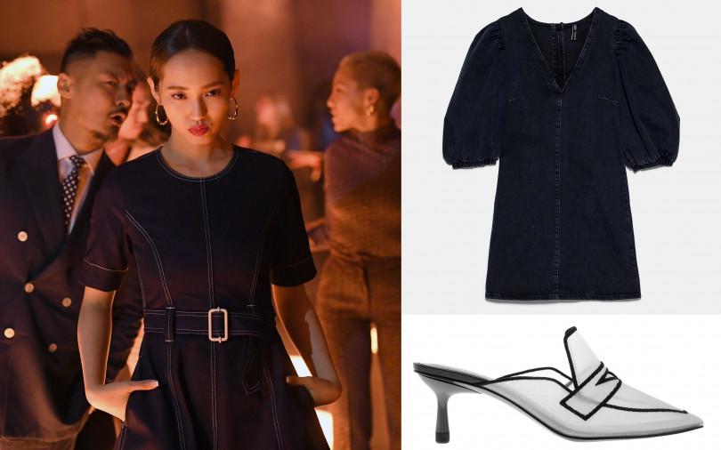 喜歡王棠云的穿搭妳可以這樣買!ZARA蓬肩袖牛仔洋裝/1,490元、CHARLES&KEITH透明網紗穆勒鞋/1,690元(圖/品牌提供)