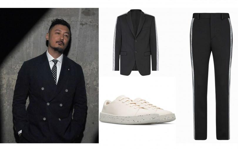 喜歡余文樂的穿搭你可以這樣買!FENDI Prints On jersey blazer/83,900元、FENDI Prints On trousers in jersey/34,900元、CAMPER Together with Ecoalf系列白色休閒鞋/6,180元(圖/品牌提供)