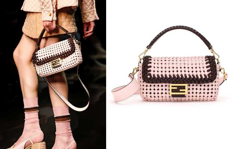 皮革編織、粉嫩色彩打造出的夏日Baguette。FENDI Pink Leather Interlace Baguette 包/約119,370元(圖/品牌提供)