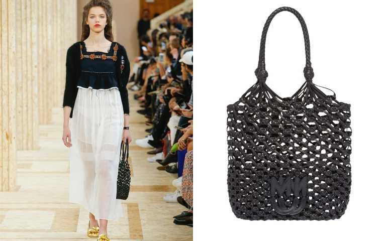 全黑皮革的網袋設計,結合復古與個性魅力。MIUMIU 編織袋/價格未定(圖/品牌提供)