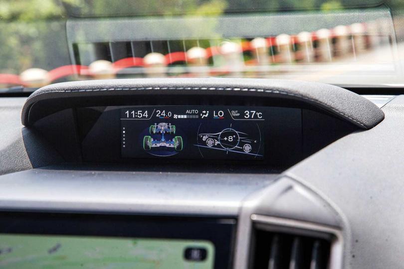 中控台上方的6.3吋螢幕,可以即時反饋車輛的轉向、傾度、油耗、室外溫度等資訊。(圖/鄭清元攝)