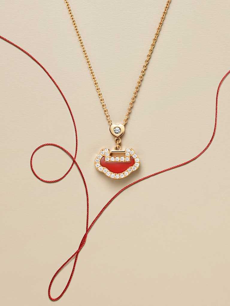 Qeelin「Yu Yi七夕系列」18K玫瑰金鑲鑽紅瑪瑙項鍊╱50,000元。(圖╱Qeelin提供)
