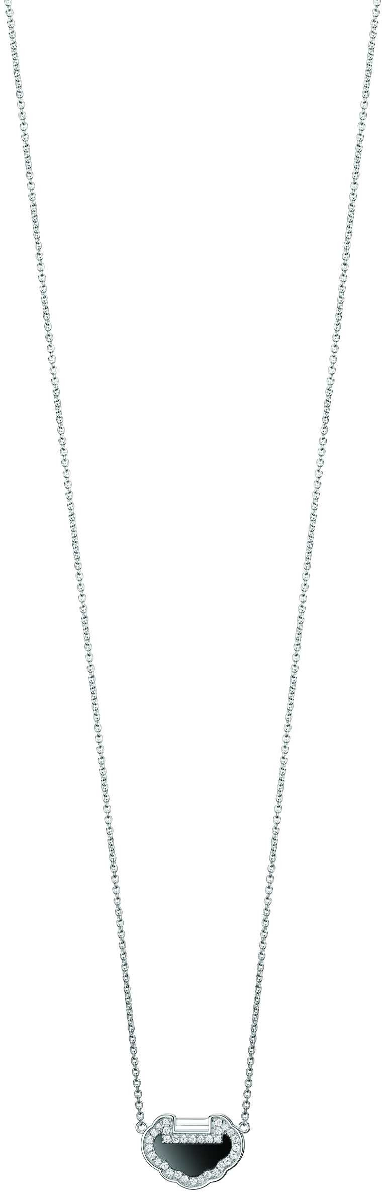 Qeelin「Petite Yu Yi系列」18K白金鑲鑽縞瑪瑙項鍊╱48,000元。(圖╱Qeelin提供)