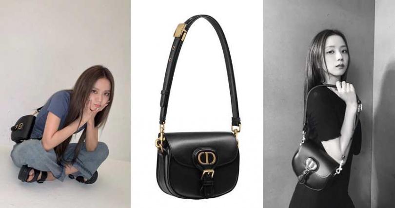 Dior Bobby黑色光滑小牛皮小型肩背包/99,000元(圖/翻攝Jisoo IG、品牌提供)