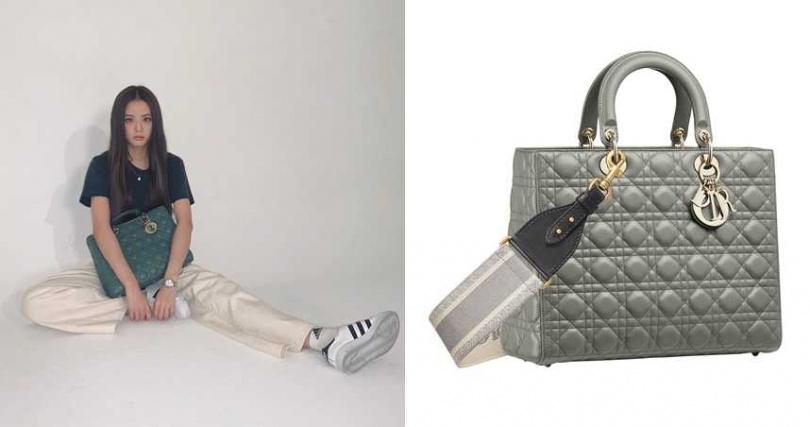 Dior Lady Dior石灰色籐格紋小牛皮大型提包(背帶另購)/165,000元(圖/翻攝Jisoo IG、品牌提供)