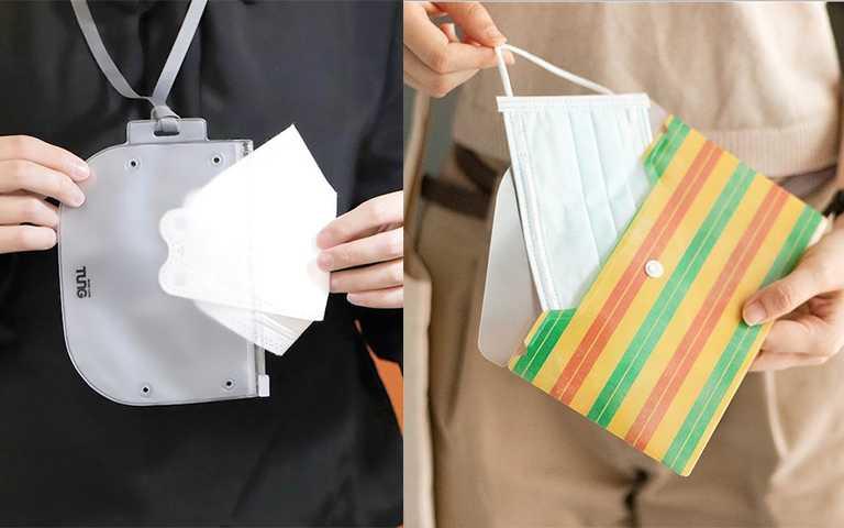 附掛繩的密封款口罩袋,極簡設計男女通用。長型的口罩袋很耐用,花色風格很多樣。(圖/your10x10 IG,laihao_japan IG)