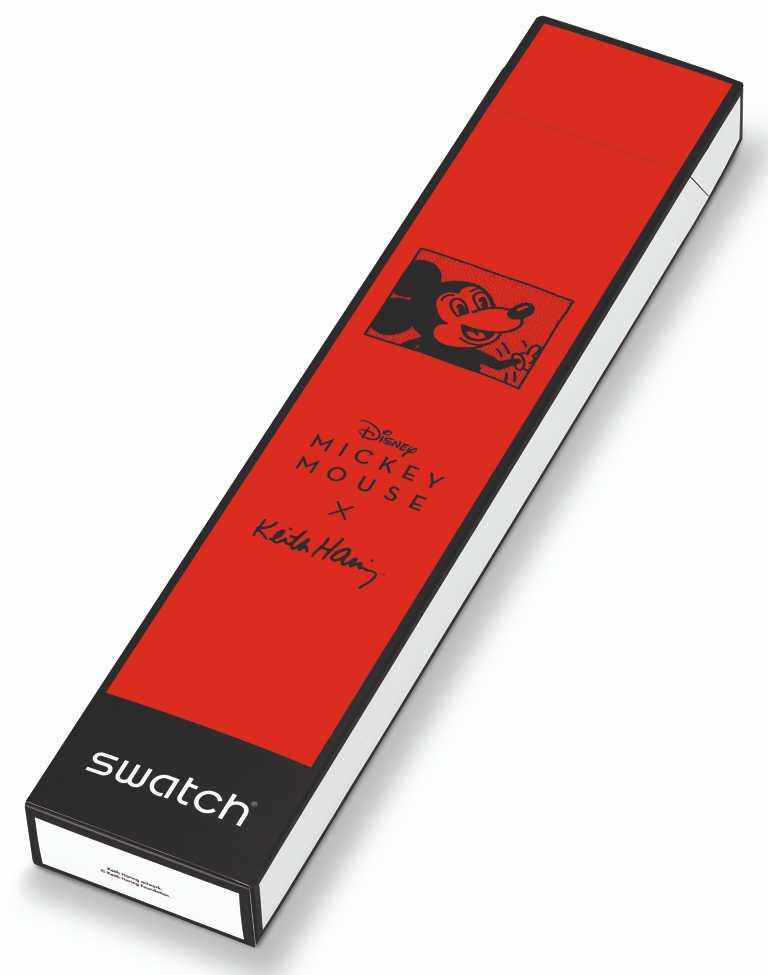 特殊錶盒置有Keith Haring刻畫的米奇形象,以紅白黑的經典米奇配色為主調。(圖╱SWATCH提供)