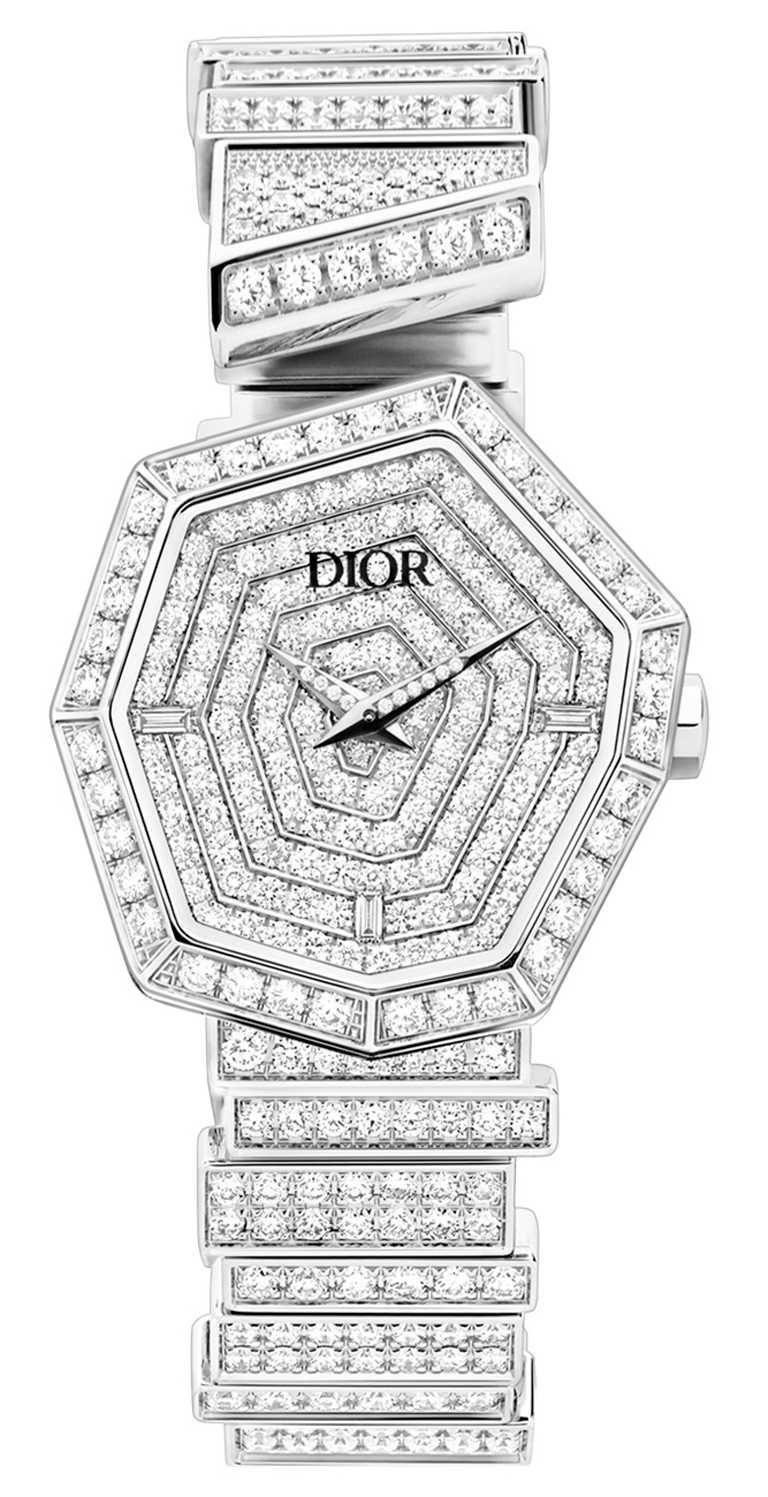 DIOR「Gem Dior」白金鑽石腕錶,27mm,白金錶殼,石英機芯,鑽石37顆╱價格店洽。(圖╱DIOR提供)