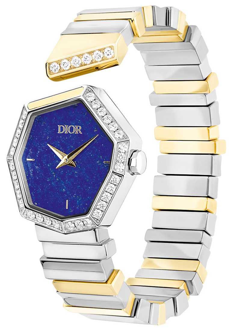 DIOR「Gem Dior」黃金精鋼青金石錶盤腕錶,27mm,黃K金、精鋼錶殼,石英機芯,鑽石37顆╱560,000元。(圖╱DIOR提供)