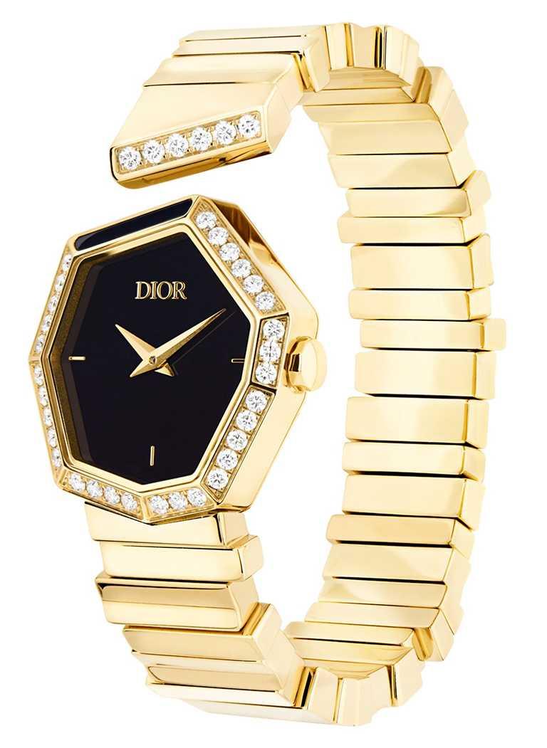 DIOR「Gem Dior」黃金鑽石與黑瑪瑙錶盤腕錶,27mm,黃K金錶殼,石英機芯,鑽石37顆╱1,200,000元。(圖╱DIOR提供)