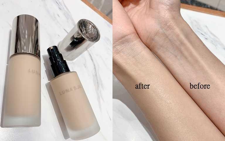 LUNASOL水潤光粉凝霜30ml/2,200元塗抹開來後是不帶粉感的遮瑕力,不僅能把青筋完美掩飾還保有自然光澤度。(圖/吳雅鈴攝影)