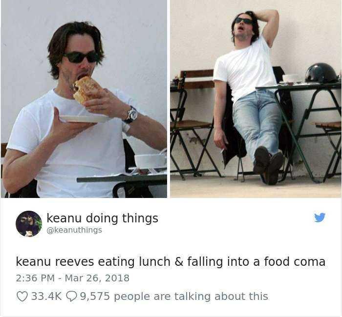 在吃完午餐後陷入了食物昏迷之中的基努李維~
