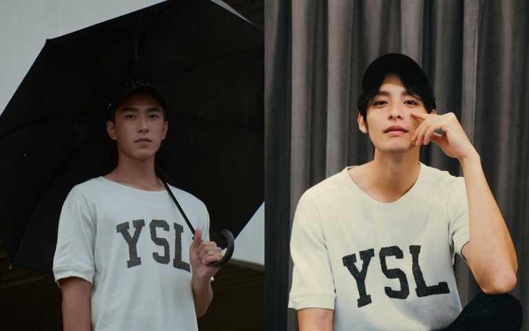 曾敬驊與曹佑寧則身穿最新上市YSL正楷字體復古球衣風上衣(圖/品牌提供、IG)