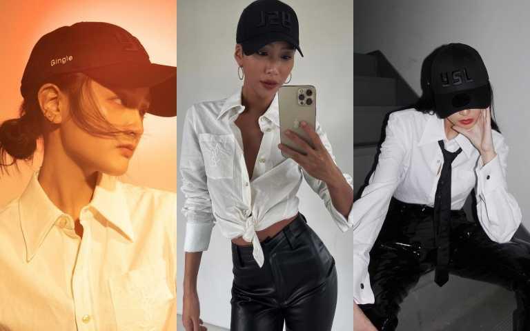 王淨、莫莉MOLLY CHIANG、李函KIWI LEE身穿烙印於口袋的CASSANDRA YSL標誌襯衫,演繹夏日清新明快的氣息。(圖/品牌提供、IG)