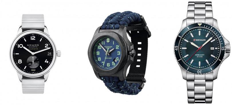 NOMOSClub Sport Neomatik 42錶殼:不鏽鋼材質/錶徑42mm機芯:DUW 6101 自動上鍊/振頻每小時28,800次/儲能42小時功能:小三針/日期防水:300米定價:144,400元 VICTORINOX I.N.O.X. Carbon錶殼:碳纖維材質/錶徑43mm機芯:石英功能:大三針/日期防水:200米定價:33,000元 WENGERSea Force錶殼:不鏽鋼材質/錶徑43mm機芯:石英功能:大三針/日期防水:200米定價:10,260元