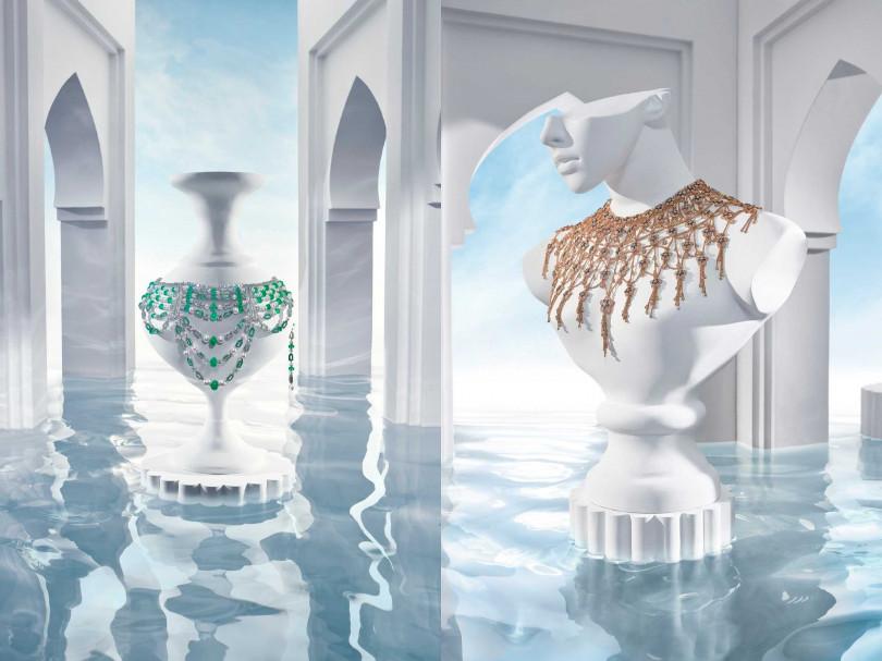 BVLGARI「Jannah」系列全新頂級珠寶,以謝赫扎耶德大清真寺大理石天花上的「五瓣花」雕刻為靈感。(圖╱BVLGARI提供)