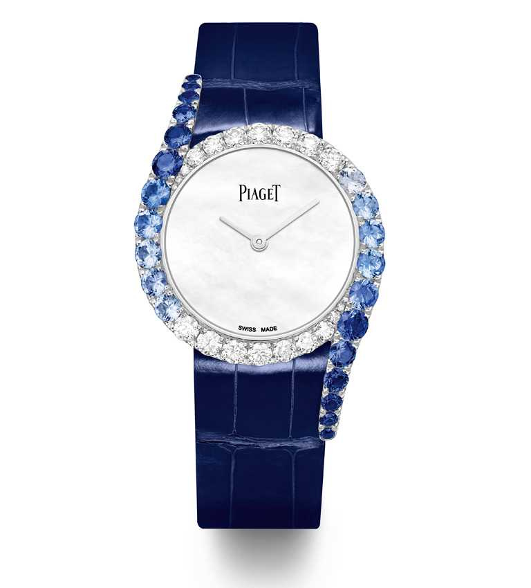 PIAGET「Limelight Gala」系列,18K白金漸層藍寶石鑲鑽高級珠寶腕錶╱頂級珍珠母貝錶盤,32mm,限量88只╱1,970,000元。(圖╱PIAGET提供)