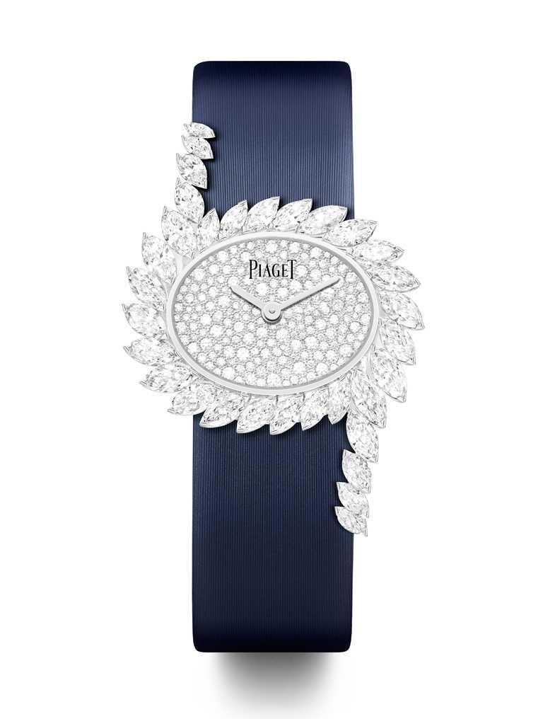 PIAGET「Limelight Gala」系列,18K白金鑲鑽高級珠寶腕錶╱雪花鑲嵌190顆圓形明亮式切割美鑽錶盤,23mm╱4,230,000元。(圖╱PIAGET提供)