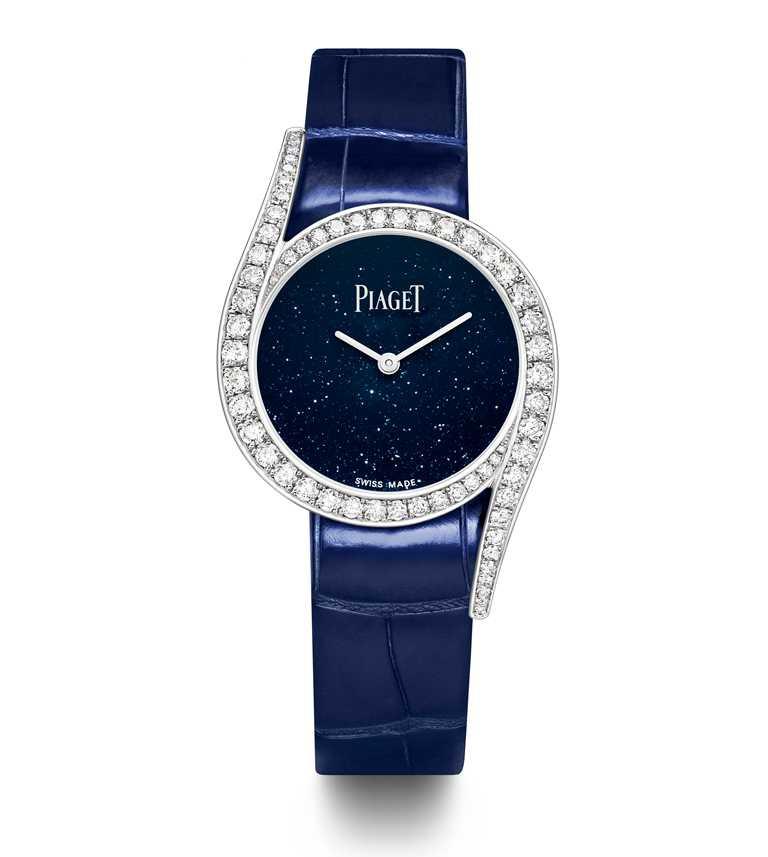 PIAGET「Limelight Gala」系列,18K白金鑲鑽高級珠寶腕錶╱砂金石玻璃錶盤,26mm,限量300只╱755,000元。(圖╱PIAGET提供)