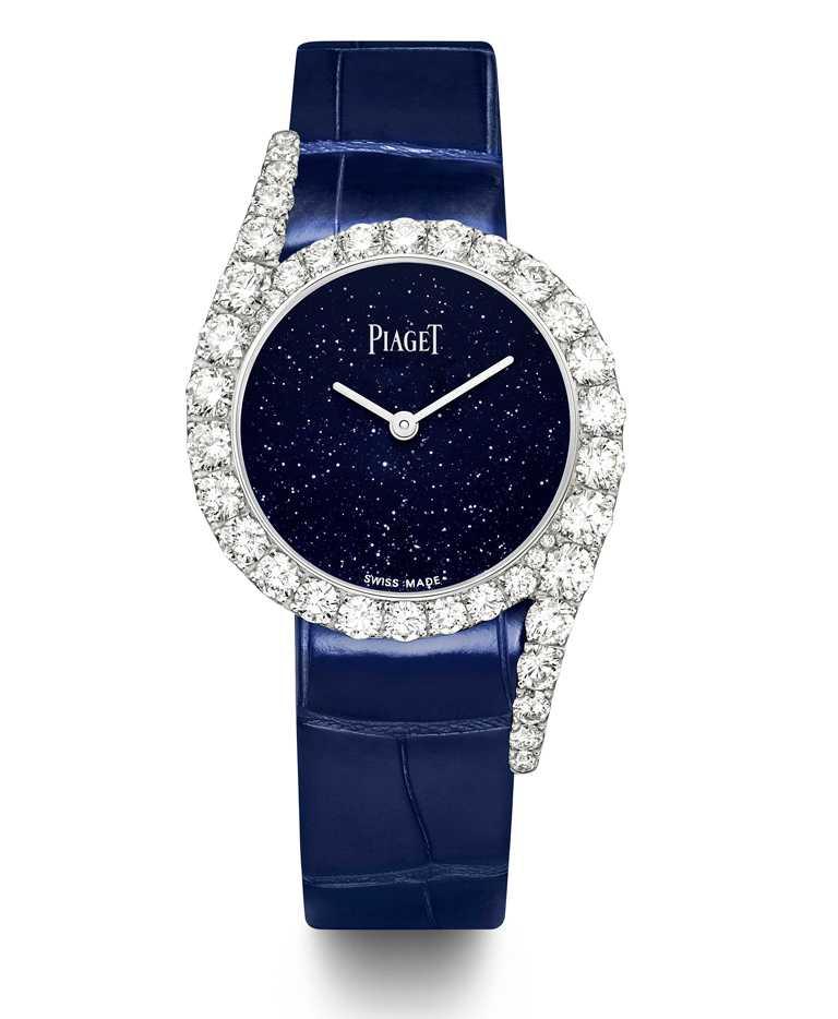 PIAGET「Limelight Gala」系列,18K白金鑲鑽高級珠寶腕錶╱砂金石玻璃錶盤,32mm,限量200只╱1,850,000元。(圖╱PIAGET提供)