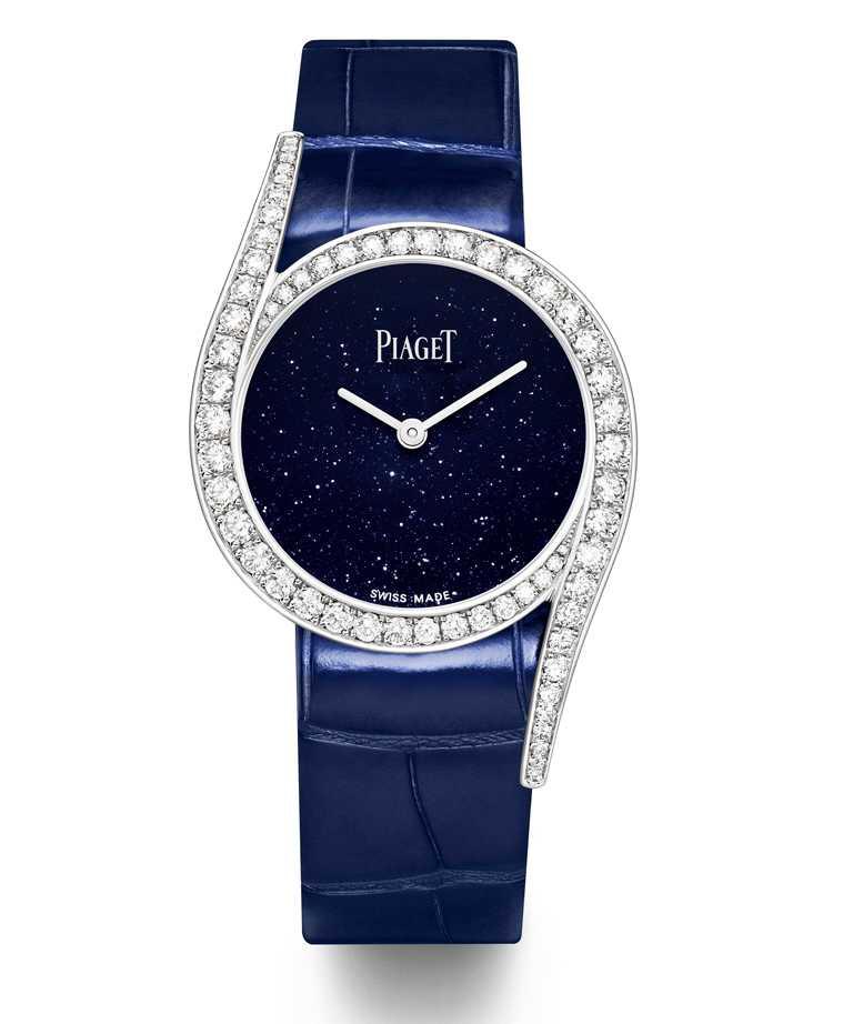 PIAGET「Limelight Gala」系列,18K白金鑲鑽高級珠寶腕錶╱砂金石玻璃錶盤,32mm,限量300只╱1,100,000元。(圖╱PIAGET提供)