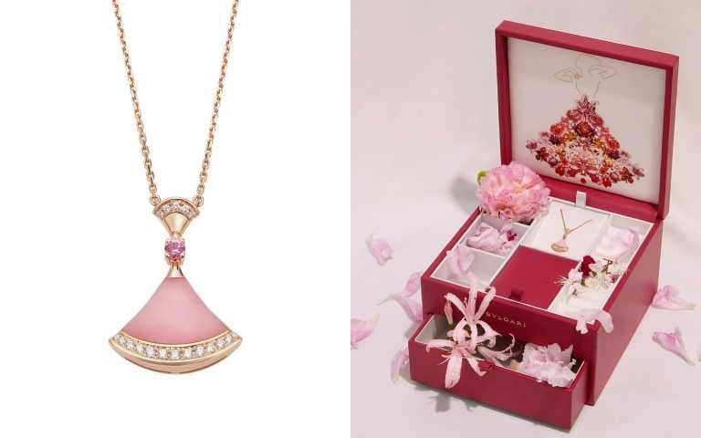 (左)BVLGARI Divas'Dream系列七夕限定款粉紅蛋白石、粉紅剛玉與鑽石項鍊119,500元/(右上)寶格麗Divas' Dream項鍊七夕限定款項鍊與珠寶盒套組(圖/品牌提供)