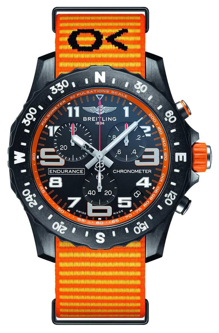 BREITLING「Professional」專業系列「Endurance Pro」腕錶, 44mm,Breitlight®錶殼,橘色錶圈╱92,000元。(圖╱BREITLING提供)