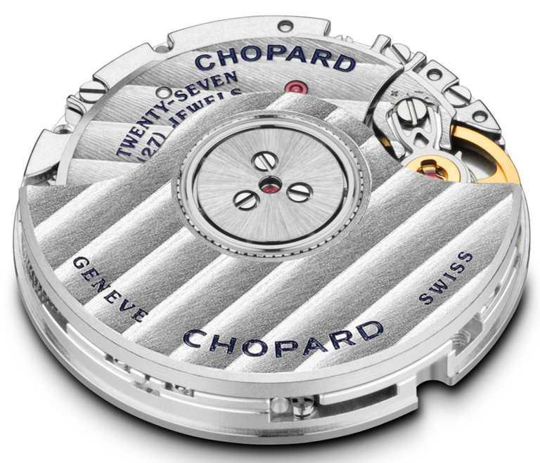 CHOPARD「L'Heure du Diamant」系列自動上鏈腕錶,搭載自製09.01-C型自動上鏈機械機芯,備有細膩打磨的日內瓦波紋,具42小時動力儲存。(圖╱CHOPARD提供)