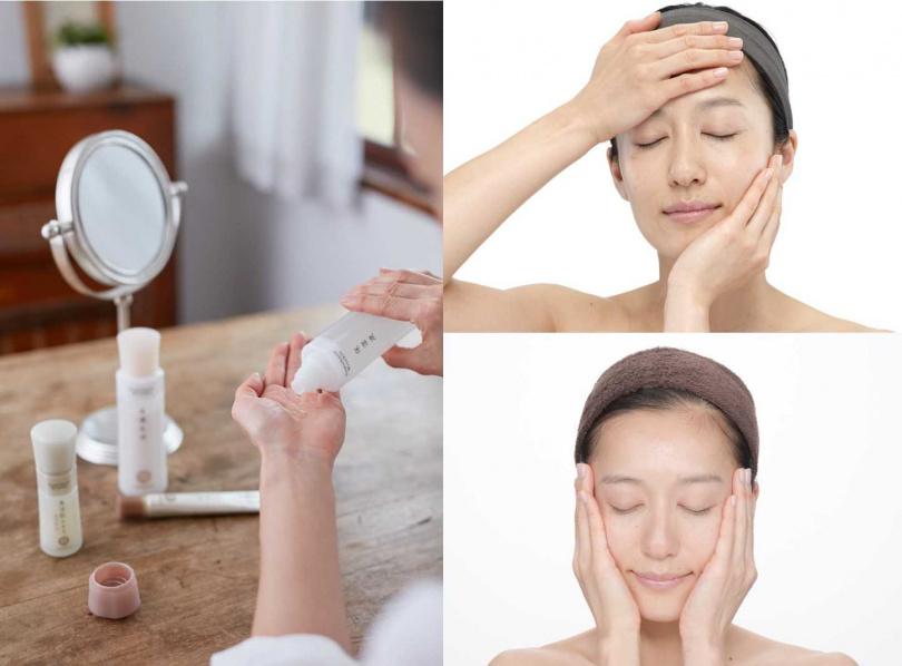 來自日本、成立40餘年的抗皺淨斑專家朵茉麗蔻,主張「雙手」就是最佳養顏工具,透過手心溫度輕柔按壓、包覆臉部肌膚,更可加速保養精華吸收。(圖/品牌提供)