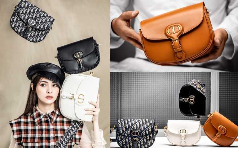 (左)Dior Bobby Oblique 藍色刺繡帆布中型肩背包 /110,000元、Bobby 黑色光滑小牛皮中型肩背包 /110,000元、Bobby 白色光滑小牛皮大型肩背包/128,000元、Dior格紋羊毛短洋裝 /140,000元、Dior米色網狀襯衫/72,000元、Dior Paris Arty黑色小羊皮報童帽/43,500元(圖/左為莊立人攝影、右上右下為品牌提供)