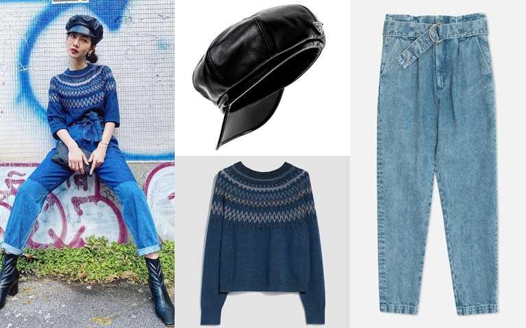 喜歡喬喬的look你可以這樣搭。PRADA Nappa皮革報童帽/24,000元、MAX&Co.藍色費爾島圖騰針織衫/價格店洽、glimmer boutique牛仔褲/10,800元(圖/翻攝喬喬IG、品牌提供)
