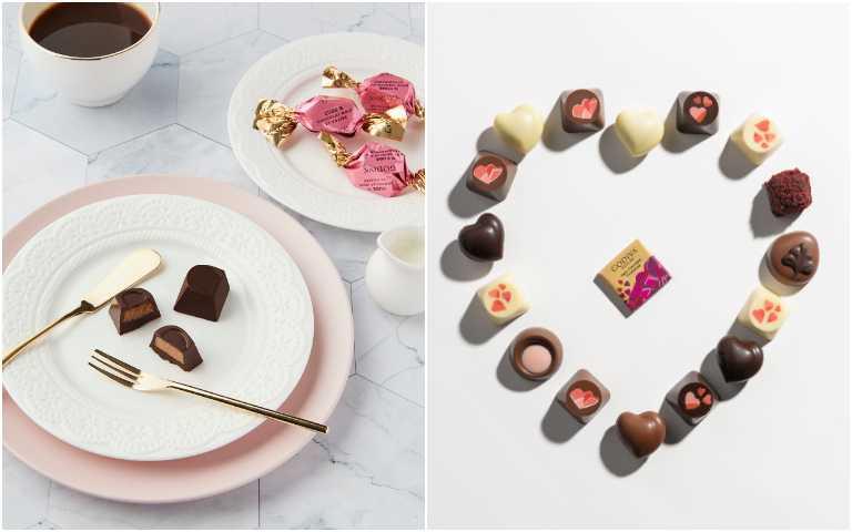 G Cube草莓松露黑巧克力(左)、情人節限量巧克力系列。(圖/GODIVA提供)