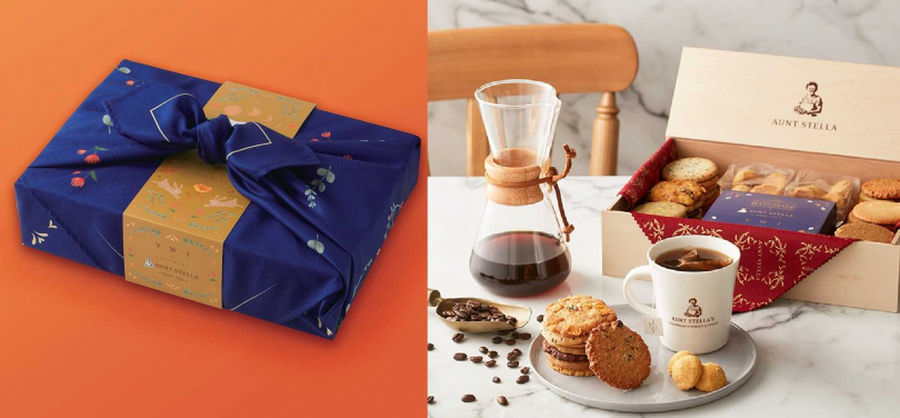 「酩月之錦」高質感禮盒以日式風呂敷布包設計,內含精緻點心及咖啡濾泡包。(圖/Aunt Stella詩特莉提供)